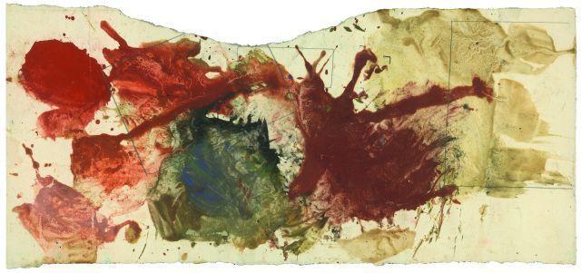 Max Weiler, Probierblatt zu Wie eine Landschaft, rostroter Berg, 1963, Eitempera auf Papier, 20,5 cm x 44 cm (Privatbesitz) Foto: pixelstorm, Wien © Yvonne Weiler.