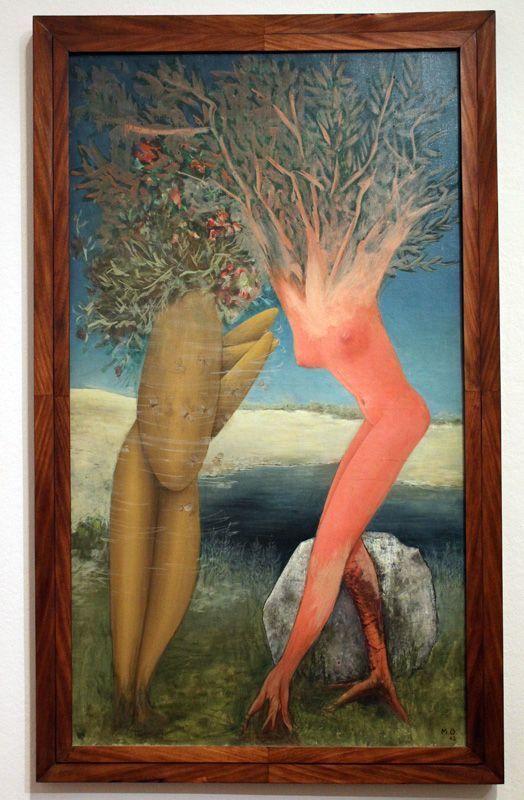 """Meret Oppenheim, Daphne und Apoll, 1943, Lukas Moeschlin, Basel, Installationsfoto """"Meret Oppenheim. Retrospektive"""": Alexandra Matzner."""