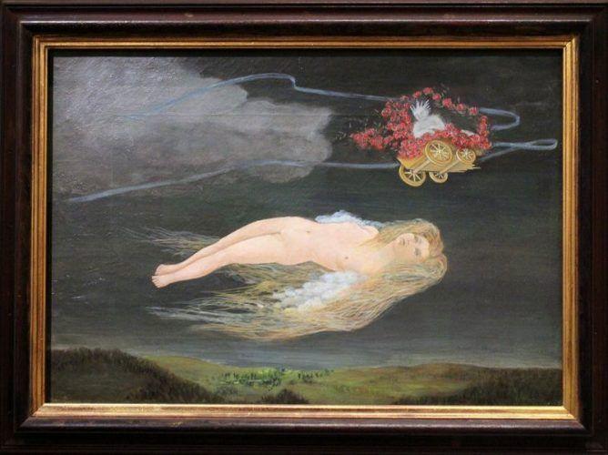 """Meret Oppenheim, Die Leiden der Genoveva, 1939, Kunstmuseum Bern, Legat der Künstlerin, Installationsfoto """"Meret Oppenheim. Retrospektive"""": Alexandra Matzner."""