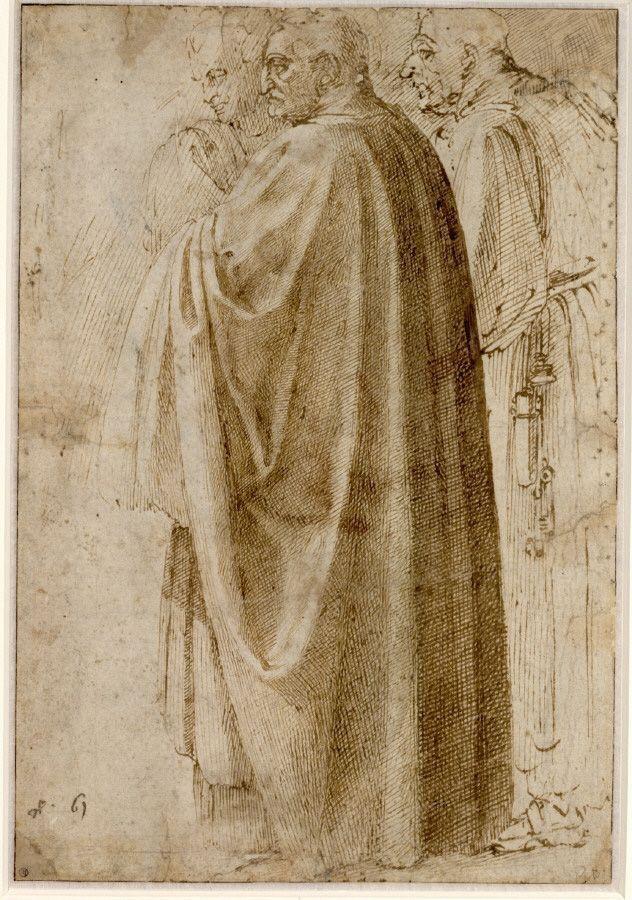 Michelangelo, Drei stehende Männer in weiten Mänteln nach links gewendet, um 1492-96, Feder in Braun (© Albertina, Wien).