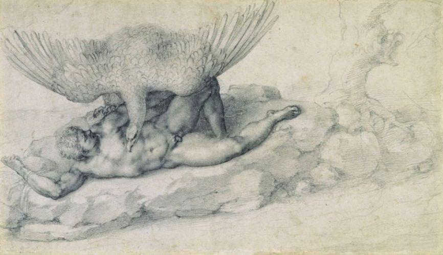Michelangelo, Die Bestrafung des Tityos (Recto), 1532, Schwarze Kreide, The Royal Collection © 2009, Her Majesty Queen Elizabeth II.