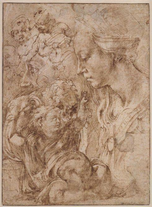 Michelangelo, Brustbild einer Madonna im Profil, das auf einem Kissen liegende Christuskind und andere Studien, 1503-04, Feder in Braun (© Staatliche Museen, Kupferstichkabinett, Berlin).