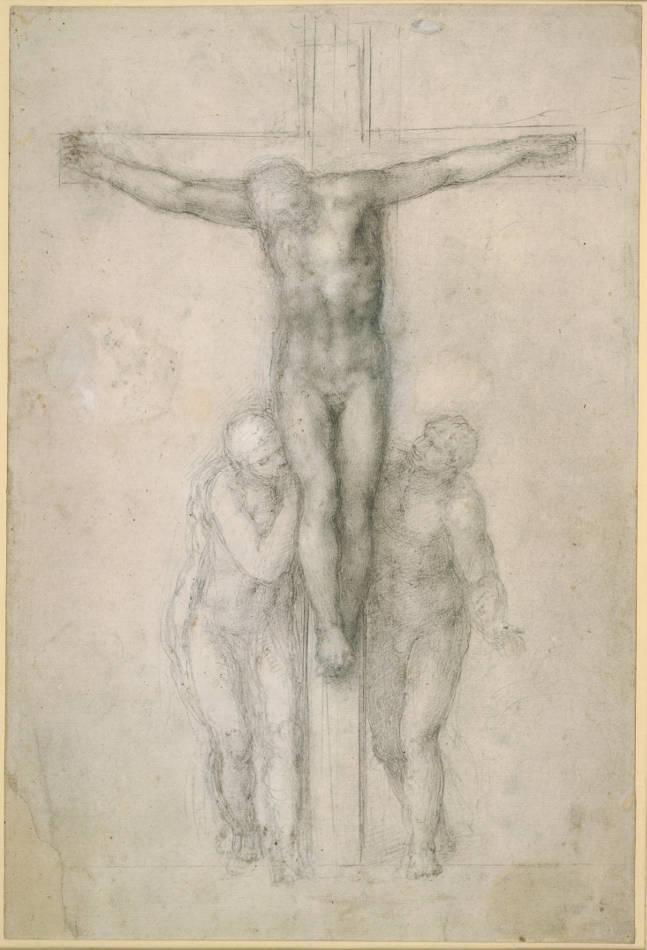Michelangelo, Christus am Kreuz mit Maria und dem heiligen Johannes, 1555-1564, Stift in Schwarz, Weiß gehöht (oxidiert) © The British Museum, London.