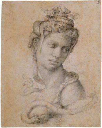 Michelangelo, Halbfigur der Kleopatra (Recto), um 1533, Stift in Schwarz (© Casa Buonarroti, Florenz).