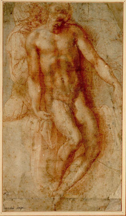 Michelangelo, Pietà, um 1530-36, Rötel über schwarzer Kreide und Griffelvorzeichnung (© Albertina, Wien).