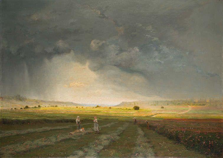 Antoine Chintreuil (1814–1873), Landschaft mit Sonnenlicht und Regenwolken, 1870, Öl auf Leinwand, 96 x 133,5 cm, Städel Museum, Frankfurt am Main, Foto: Städel Museum – ARTOTHEK, Städel Museum, Frankfurt am Main / Eigentum des Städelschen Museums-Vereins e.V.