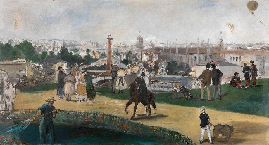 Édouard Manet (1832–1883), Die Weltausstellung in Paris von 1867, 1867, Öl auf Leinwand, 108 x 196,5 cm, The National Museum of Art, Architecture and Design, Oslo, Foto: The National Museum of Art, Architecture and Design, Oslo.