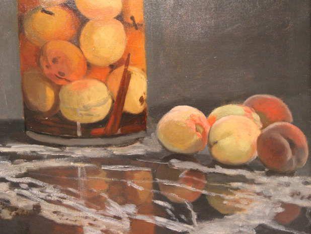 Claude Monet, Pfirsichglas, Detail, ca. 1866, Öl auf Leinwand, 55,5 x 46 cm, Galerie Neue Meister, Staatliche Kunstsammlungen Dresden © Galerie Neue Meister, Staatliche Kunstsammlungen Dresden.
