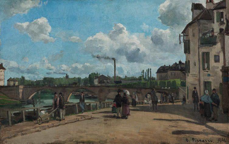 Camille Pissarro (1831–1903), Der Quai du Pothuis, Pontoise, 1868, Öl auf Leinwand, 52 x 81 cm, Kunsthalle Mannheim, Foto: Cem Yücetas.