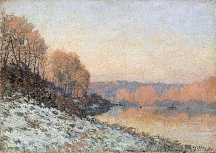 Alfred Sisley (1839–1899), Die Seine in Bougival im Winter, 1872, Öl auf Leinwand, 46 x 65 cm, Palais des Beaux Art de Lille,Foto: bpk | RMN - Grand Palais | René-Gabriel Ojéda.