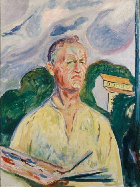 Edvard Munch, Selbstporträt in Ekely, 1926, Öl auf Leinwand, 90 × 68 cm, Privatsammlung, Norwegen.
