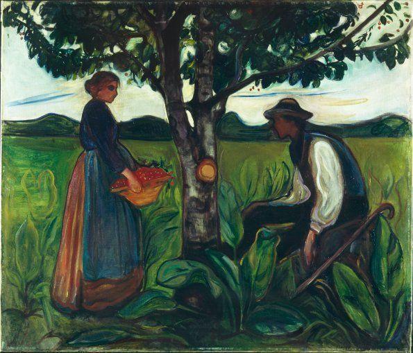 Edvard Munch, Fruchtbarkeit, 1899–1900, Öl auf Leinwand, 120 × 140 cm, Privatsammlung, Norwegen.