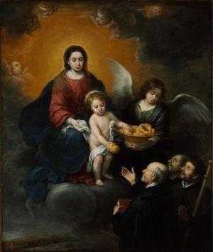 Bartolomé Esteban Murillo, Madonna und Kind verteilen Brot an die Priester, 1679, Oil on canvas, 219 x 182 cm, Szépmüvészeti Museum, Budapest.