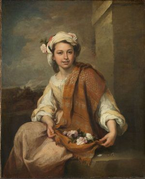Bartolomé Esteban Murillo, 'Frühling' (?) als ein Blumenmädchen, 1665-70, oil on canvas, 120.7 x 98.3 cm, By permission of The Trustees of Dulwich Picture Gallery, London.