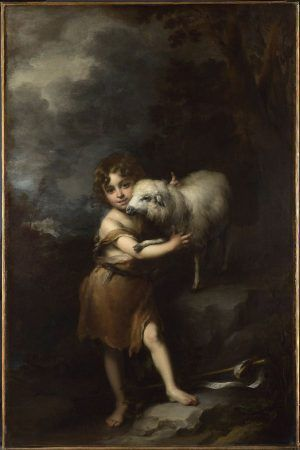Bartolomé Esteban Murillo, The Infant Saint John the Baptist with the Lamb / Johannes Bapt. als Kind mit Lamm, 1660-65, oil on canvas, 164 x 106 cm, The National Gallery, London. Bought, 1953.