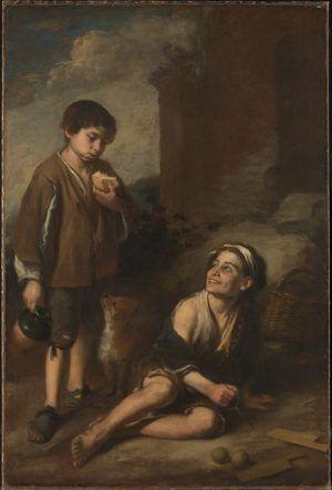 Bartolomé Esteban Murillo, Einladung zu einem Argolla-Spiel, 1665-70, Oil on canvas, 165.2 x 110.5 cm, By Permission of the Trustees of Dulwich Picture Gallery, London.
