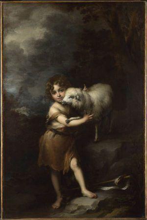 Bartolomé Esteban Murillo, The Infant Saint John the Baptist with the Lamb / Johannes Bapt. als Kind mit Lamm, 1660-65, oil on canvas, 164 x 106 cm, The National Gallery, London. Bought, 1953.