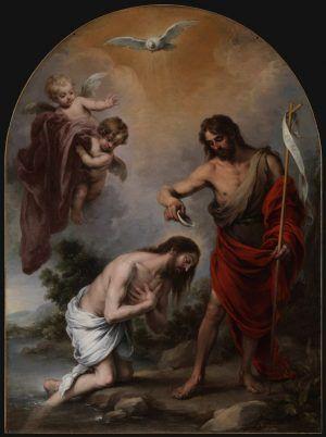 Bartolomé Esteban Murillo, The Baptism of Christ / Taufe Christi, 1667-68, Oil on canvas, 283 x 210 cm, Chapel of San Antonio, Catedral de Sevilla.