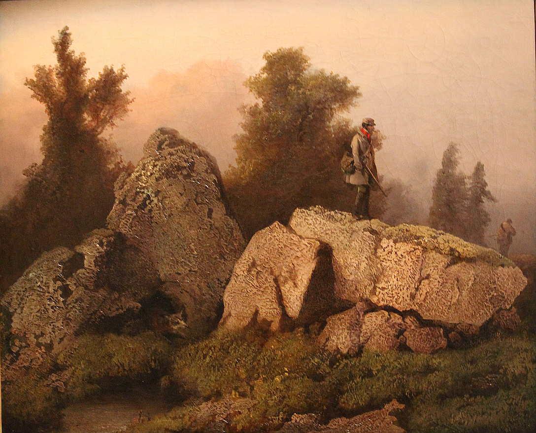 Josef Navrátil, Fuchsjagd, 1850–1853, Öl auf Leinwand, 45 × 55 cm, Unbezeichnet (Národní galerie v Praze/Nationalgalerie Prag, Inv.-Nr. O 10219)