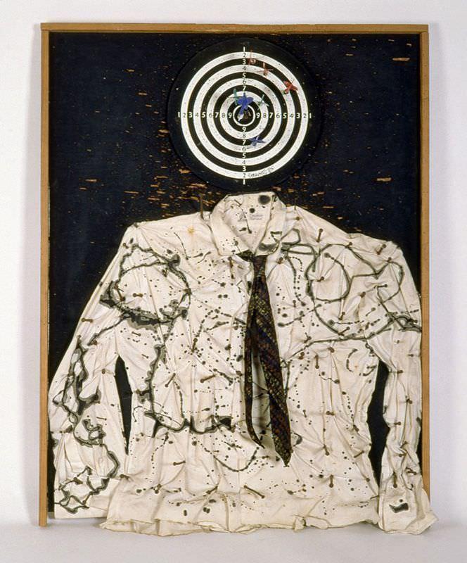 Niki de Saint Phalle, Saint Sébastien or Portrait of my Lover, 1961, Dartscheibe, Pfeile, Hemd und Krawatte, Farbe auf Holz, 100 x 74 x 15 cm, Foto: Michael Herling/Aline Gwose © N.C.A.F. – Donation Niki de Saint Phalle – Sprengel Museum Hannover © 2010 Niki Charitable Art Foundation / ADAGP