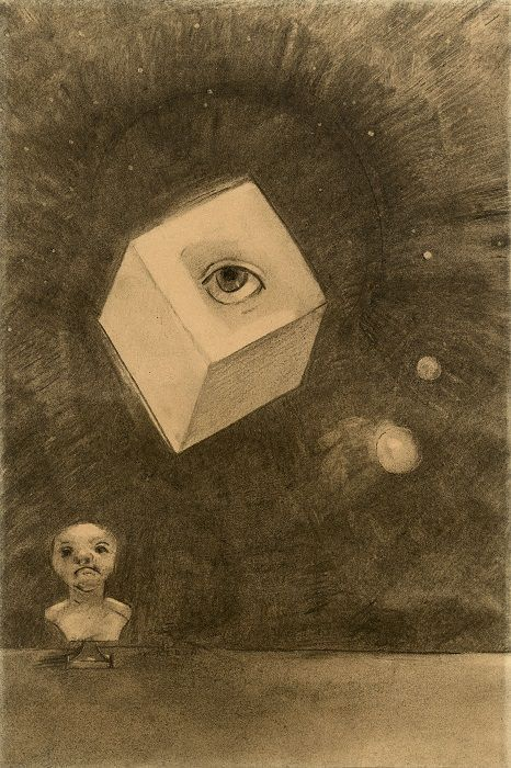 Odilon Redon, Würfel, 1880, Kohle auf Papier, 43 x 29 cm, Privatsammlung.