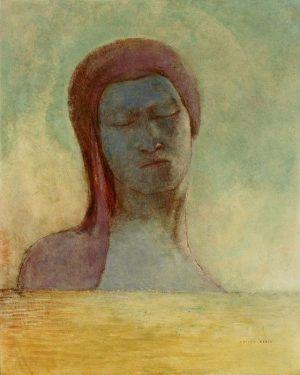 Odilon Redon, Geschlossene Augen, um 1894, Öl auf Karton, 44,5 x 36,5 cm, Fujikawa Galleries, Tokio.