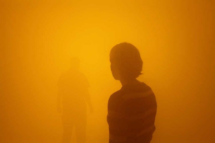 Olafur Eliasson, Der blinde Passagier / Your blind passenger (oranger Nebel), 2010, Photo Studio Olafur Eliasson © 2010 Olafur Eliasson.