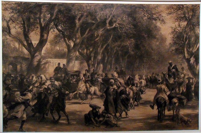 Franz Xaver von Pausinger, Ein Abend in der Schubraallee in Kairo, um 1881 ( Wien, Österreichische Nationalbibliothek), Foto: Alexandra Matzner.