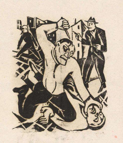 """Carry Hauser, Mörder, Aus der Holzschnittfolge """"Irrende Menschen"""", 1923, Holzschnitt, 29,8 x 23,4 cm, Wien Museum © Bildrecht, Wien 2016."""
