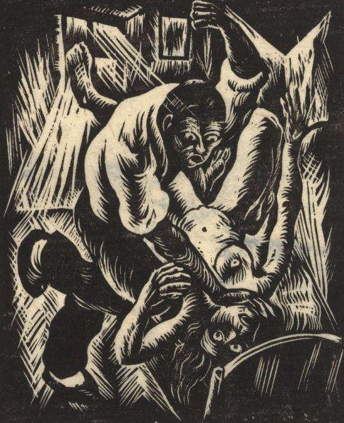 Otto Rudolf Schatz, Mörder, 1923, Holzschnitt, 23,5 × 17,1 cm, Wien Museum © Bildrecht, Wien 2016.