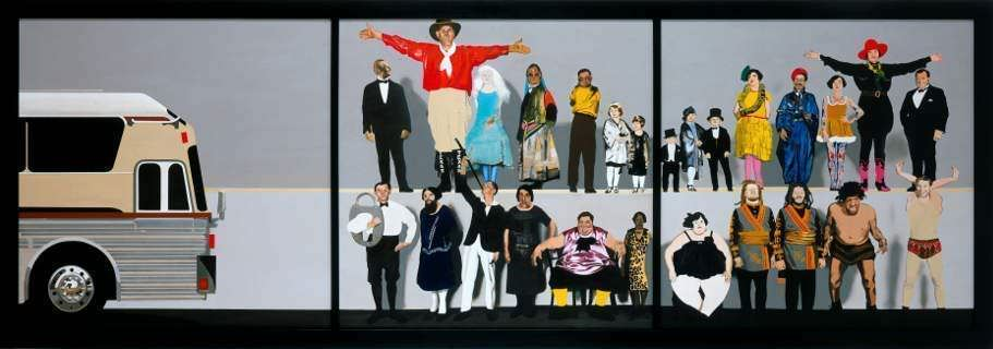 Peter Blake, Marcel Duchamp´s World Tour: He meets the Congress of Unusual People with the Ringling Brothers and Barnum and Bailey (Combined) Circus Season – 1929, 2004-05 © Peter Blake, David Roberts Collection, London, Image Courtesy Waddington Custot Galleries, London, Foto/Photo: Prudence Cuming Associates, London.