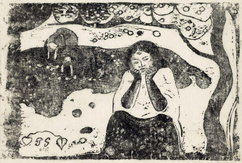 Paul Gauguin, Vollard-Suite, Menschliches Elend (Misères humaines), 1898–1899, Holzschnitt, gedruckt in Schwarz auf Japanpapier (Gampi).