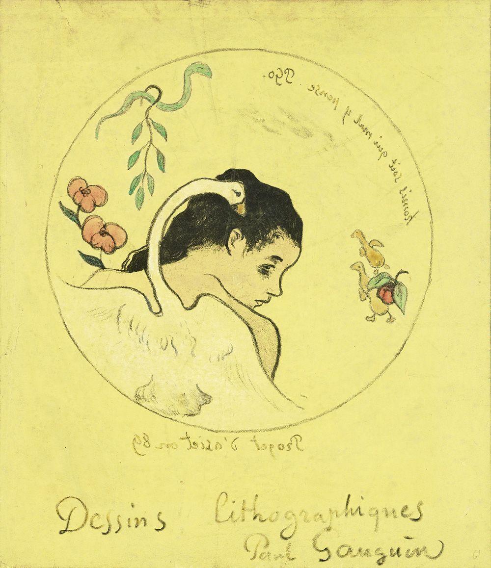 Paul Gauguin, Volpini-Suite, Leda, 1889, Frontispiz der Suite Volpini, Zinkografie, handkoloriert.
