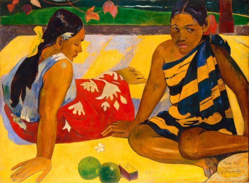 Paul Gauguin, Parau api (Gibt's was Neues?), 1892, Öl auf Leinwand, 67 x 91 cm, Gemäldegalerie Neue Meister, Staatliche Kunstsammlungen Dresden, Foto: Jürgen Karpinski.