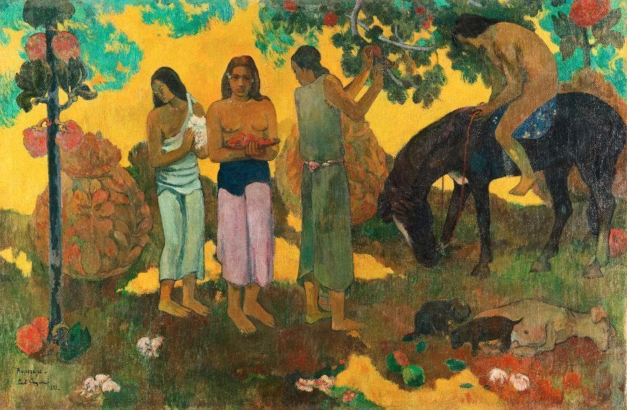 Paul Gauguin, Rupe Rupe (Obsternte), 1899, Öl auf Leinwand, 128 x 200 cm, Moskau, The Pushkin State Museum of Fine Arts.