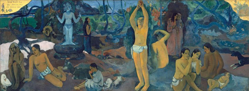 Paul Gauguin, D'où venons-nous? Que sommes-nous? Où allons-nous?, 1897/98, Woher kommen wir? Was sind wir? Wohin gehen wir?, Öl auf Leinwand, 139,1 x 374,6 cm, Museum of Fine Arts Boston, Tompkins Collection, Arthur Gordon Tompkins Fund, Foto : © 2015 Museum of Fine Arts, Boston.
