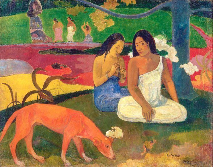 Paul Gauguin, Arearea (Freude), 1892, Öl auf Leinwand, 75 x 94 cm, Musée d'Orsay, Paris © RMN-Grand Palais (Musée d'Orsay) / Hervé Lewandowsk.