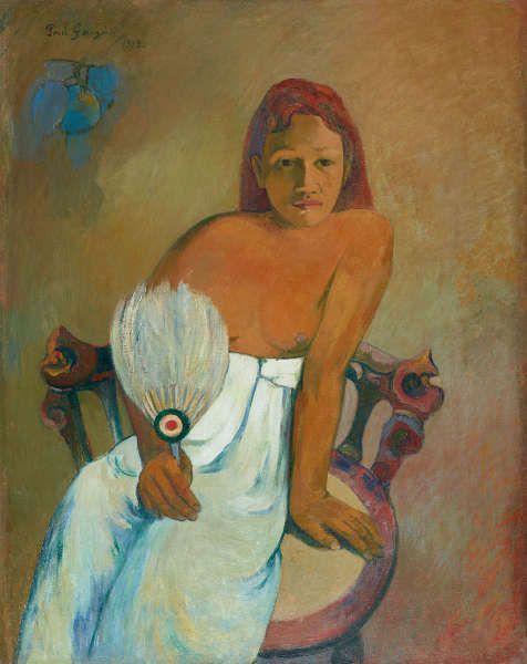 Paul Gauguin, Femme à l'éventail / Frau mit Fächer, 1902, Öl auf Leinwand, 91,9 x 72,9 cm, Museum Folkwang, Essen, Foto: © Museum Folkwang, Essen.