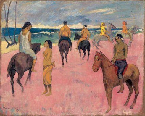 Paul Gauguin, Cavaliers sur la plage (II), 1902, Reiter am Strand (II), Öl auf Leinwand, 73,8 x 92,4 cm, Privatsammlung.