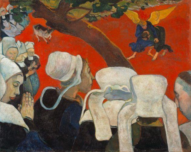Paul Gauguin, La vision après le sermon ou La lutte de Jacob avec l'ange (Vision nach der Predigt oder Der Kampf Jakobs mit dem Engel), 1888, Öl auf Leinwand, 73 x 92 cm, Scottish National Gallery, Edinburgh.