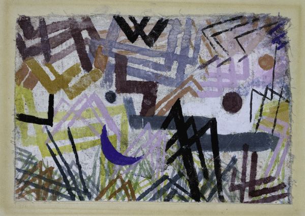 Paul Klee, Spiel der Kräfte einer Lechlandschaft, 1917,102, Aquarell auf Kreidegrundierung auf Leinwand und Papier auf Karton, 16,4 x 24,3 cm, Galerie Rosengart, Luzern.