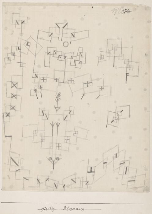 Paul Klee, Fliegersturz, 1920, 209, Feder auf Papier auf Karton, 28 x 22 cm, Zentrum Paul Klee, Bern, Inv. Nr. PKS Z 447.