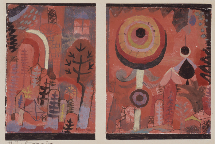 Paul Klee, Blumengärten von Taora, 1918,77, Aquarell auf Kreidegrundierung auf Papier, zerschnitten und neu kombiniert, auf Karton, 16 x 11,3 cm und 15,9 x 13,3 cm, Allen Memorial Art Museum, Oberlin College, Oberlin, Friends of Art Fund, 1953, Inv. Nr. 1953.222.