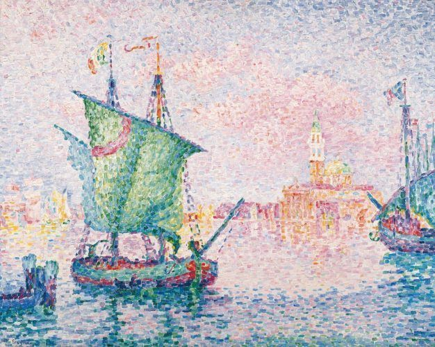 Paul Signac, Venedig, die rosa Wolke (Ankerplatz bei der Giudecca), 1909, Öl auf Leinwand, 73 × 92 cm (Albertina, Wien - Sammlung Batliner)