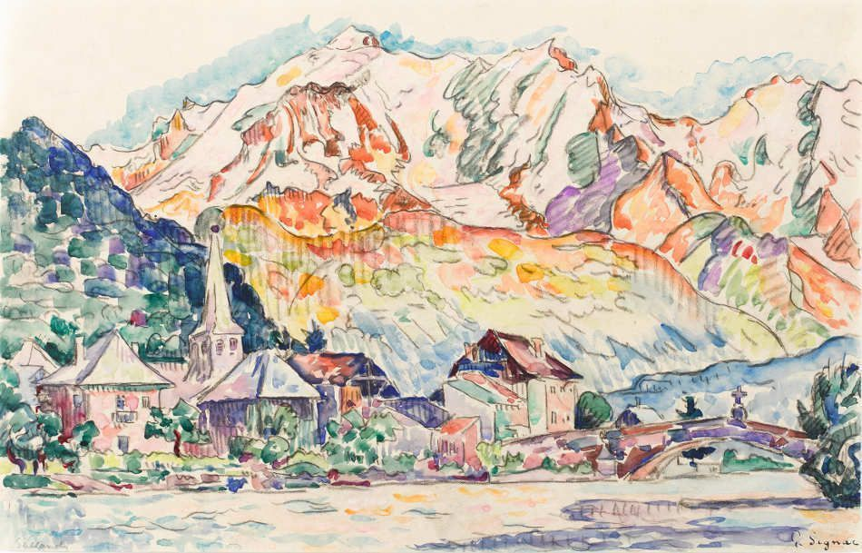 Paul Signac, Sallanches, um 1920, Aquarell, 26,5 x 41,2 cm (Privatsammlung)