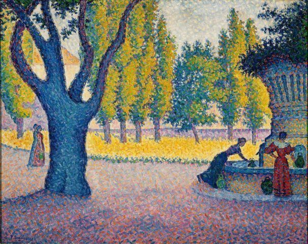 Paul Signac, Saint-Tropez. Fontaine des Lices, 1895, Öl auf Leinwand, 65 x 81 cm (Privatsammlung)