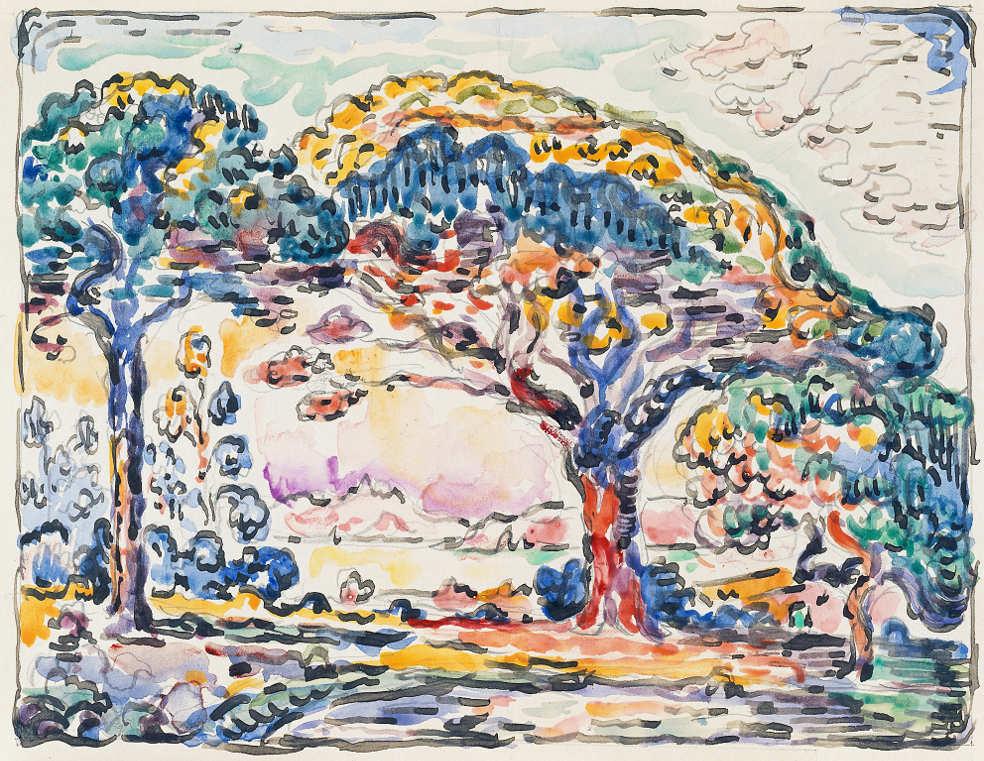 Paul Signac, La Baie / Die Bucht (Saint-Tropez), um 1908, Aquarell und Tusche, 20,8 x 25,7 cm (Privatsammlung)
