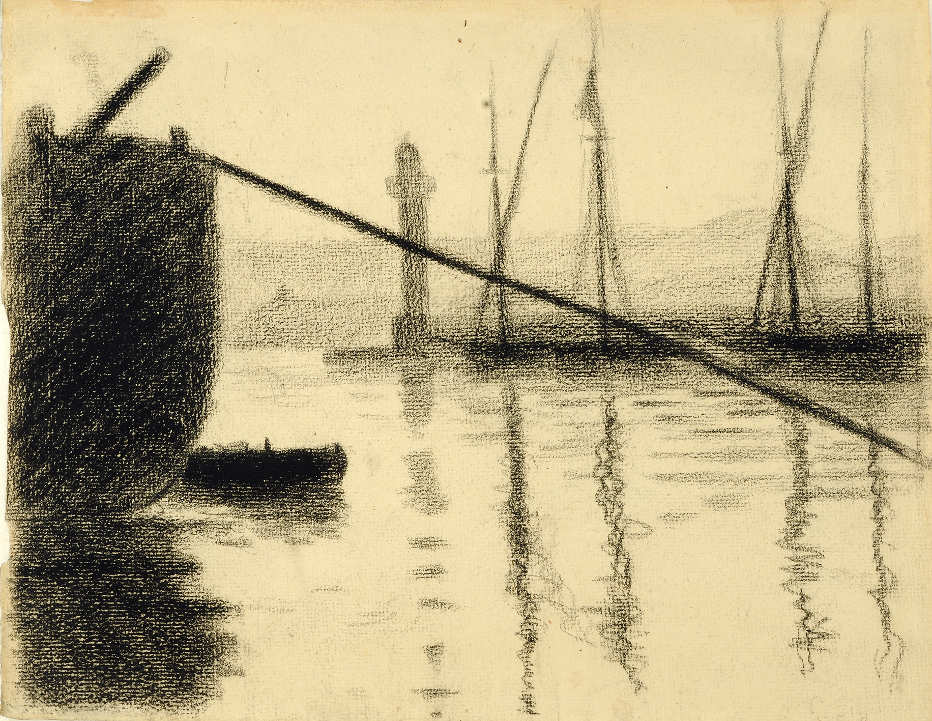 Paul Signac, Saint-Tropez. La jetée vue du chantier naval, 1892, Contékreide, 23,7 x 30,5 cm (Privatsammlung)