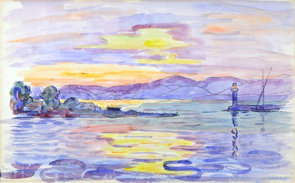 Paul Signac, Saint-Tropez, le chantier naval et le phare, 1893, Lithographie rehaussée à Aquarell, 25,5 x 41 cm (Privatsammlung)
