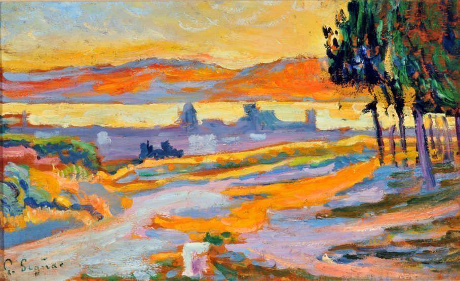 Paul Signac, Soleil couchant sur la ville de Saint-Tropez (Studie), 1892, Öl auf Leinwand, 15,5 x 25 cm (Privatsammlung)